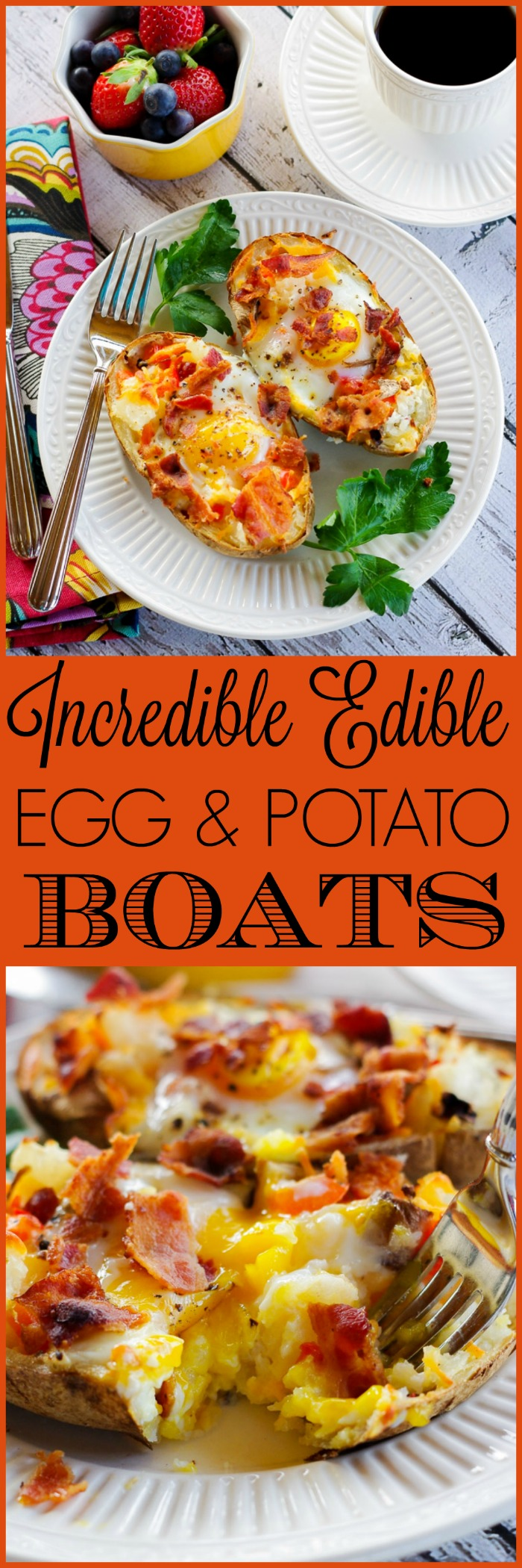 Incredible Edible Egg & Potato Boats | www.homeandplate.com | Transform last night's leftover baked potatoes into a delicious breakfast with these cheesy Incredible Edible Egg & Potato Boats.