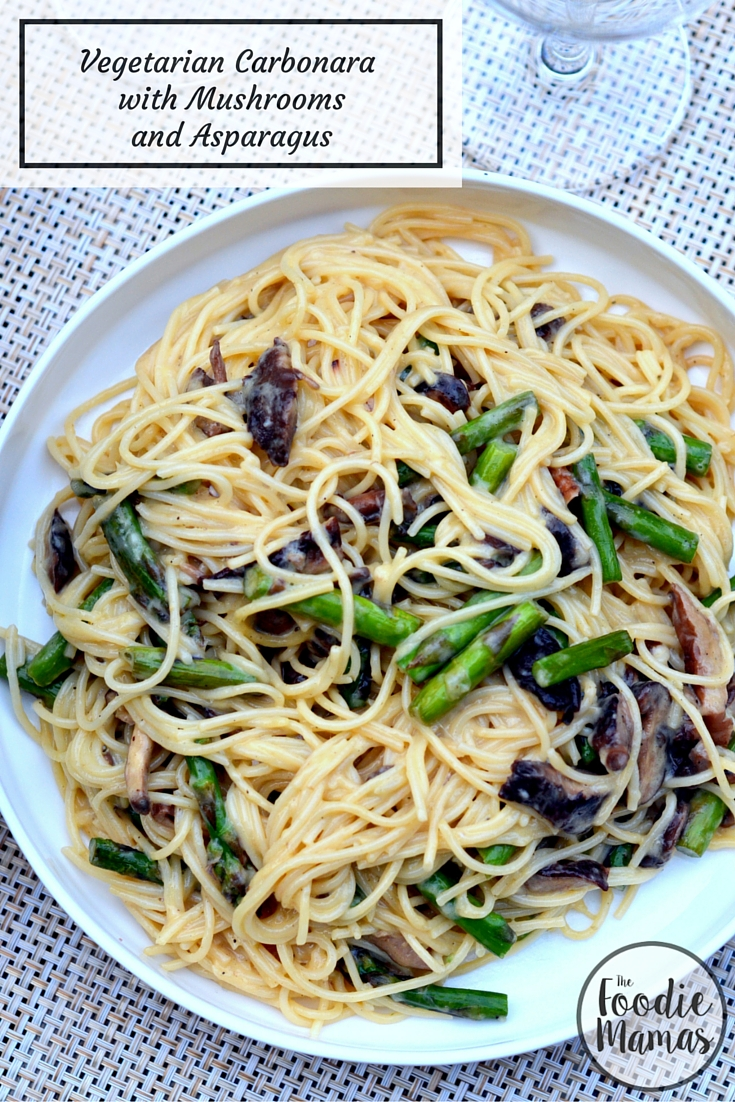 Vegetarian Carbonara with Mushrooms and Asparagus