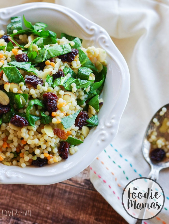 Cherry Almond Moroccan Inspired Couscous | www.homeandplate.com | Paired with fresh baby spinach and crunchy almonds, cherries lend intense flavor to Israeli couscous.