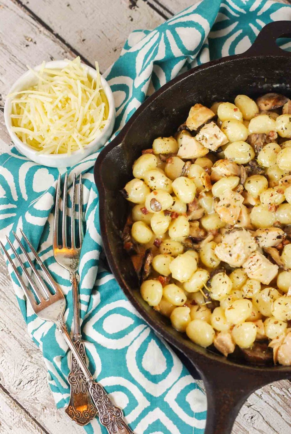 15-Minute Mushroom Pancetta Gnocchi | www.homeandplate.com | Creamy pillows of pasta that hint of mashed potatoes, earthy mushrooms and salty pancetta, swirled in a light and creamy sauce.
