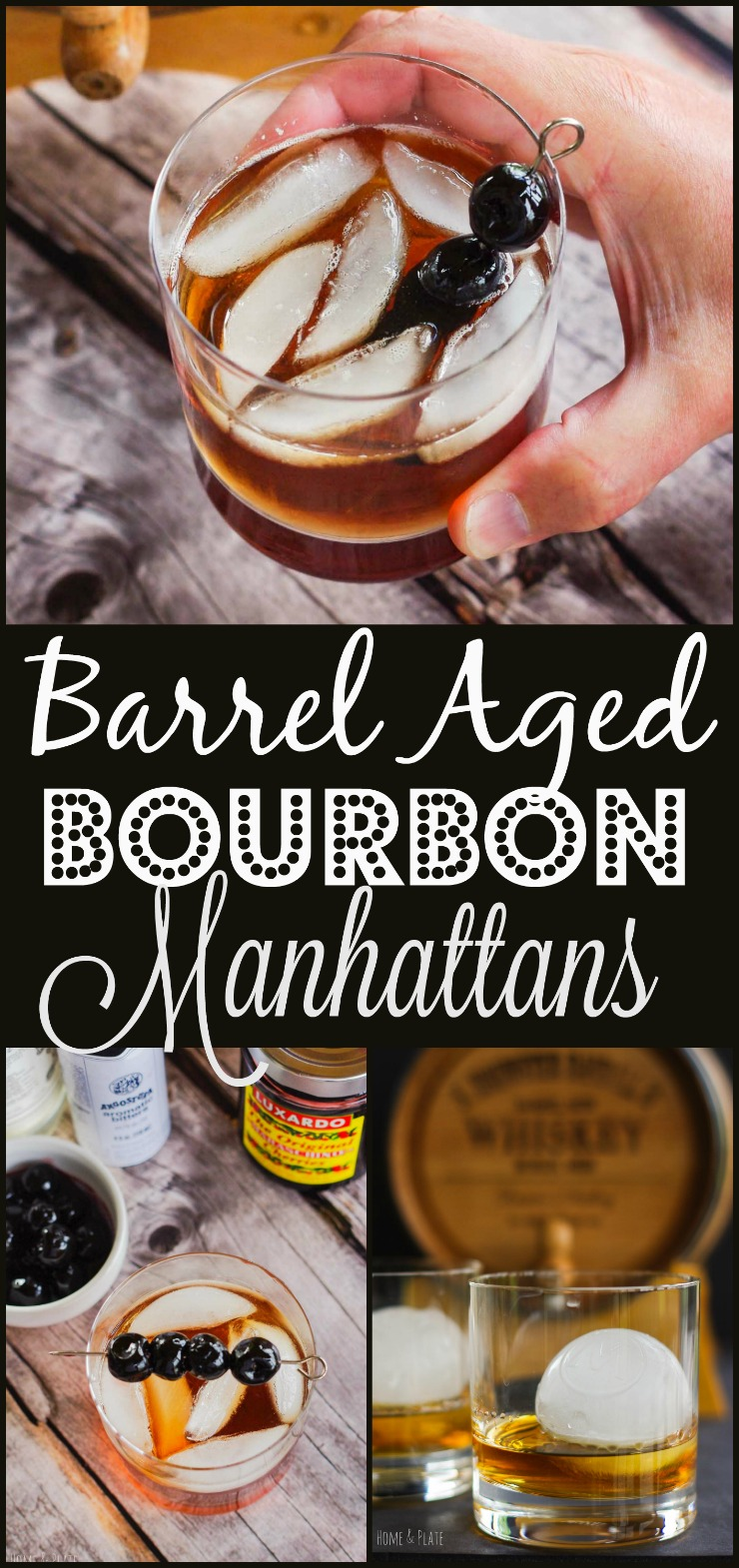 Barrel-Aged Bourbon Manhattan | www.homeandplate.com | A 5-liter miniature oak barrel is the perfect size for accentuating the flavor of quality whiskeys and bourbons. If you're a fan, then this Barrel-Aged Bourbon Manhattan cocktail is for you. It's a twist on a classic. Also check out my other barrel recipes and my review of the Personalized Whiskey Barrel and Whiskey Ice Balls from UncommonGoods. #ad