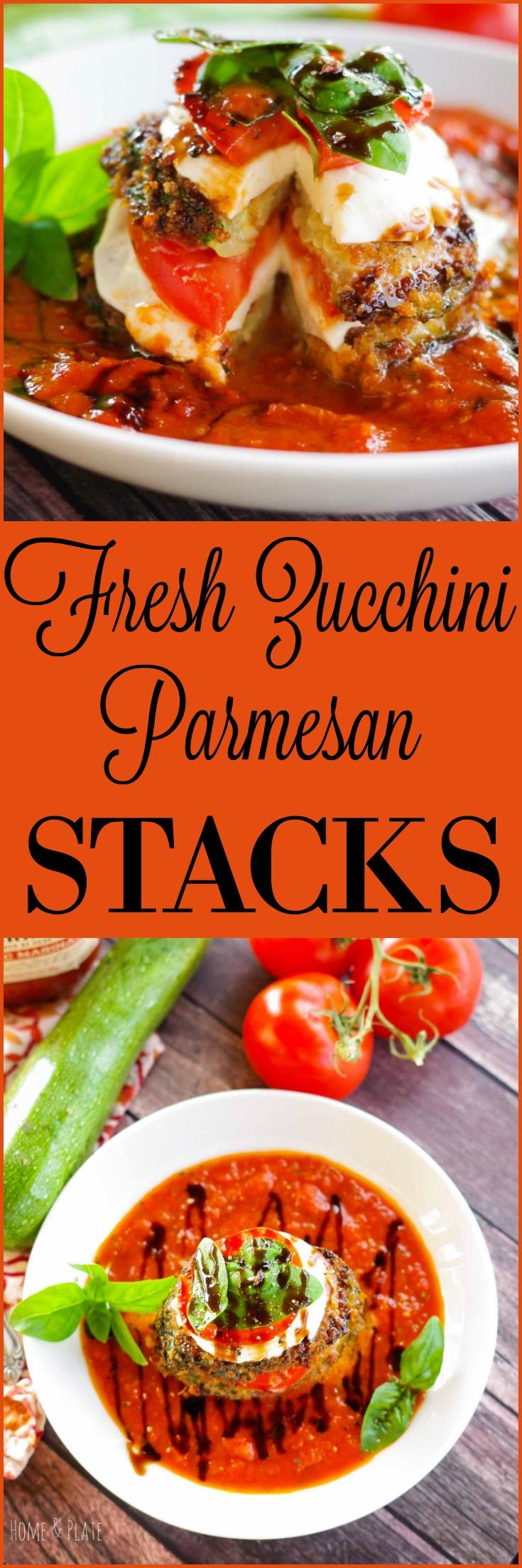 Fresh Zucchini Parmesan Stacks | www.homeandplate.com | Crispy zucchini, juicy tomato and fresh mozzarella are nestled in Prego®Farmers' Market tomato sauce for the ultimate farm fresh dinner. # PickedAtPeak #ad