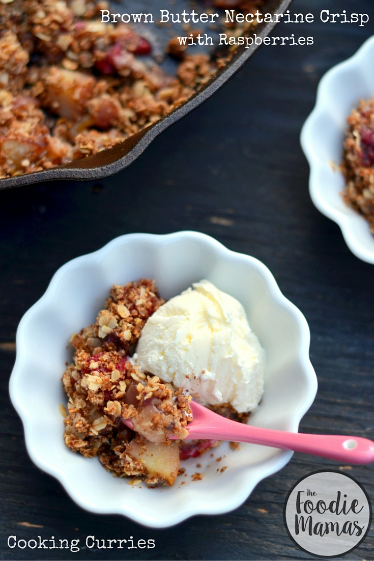 Brown Butter Nectarine Crisp with Raspberries