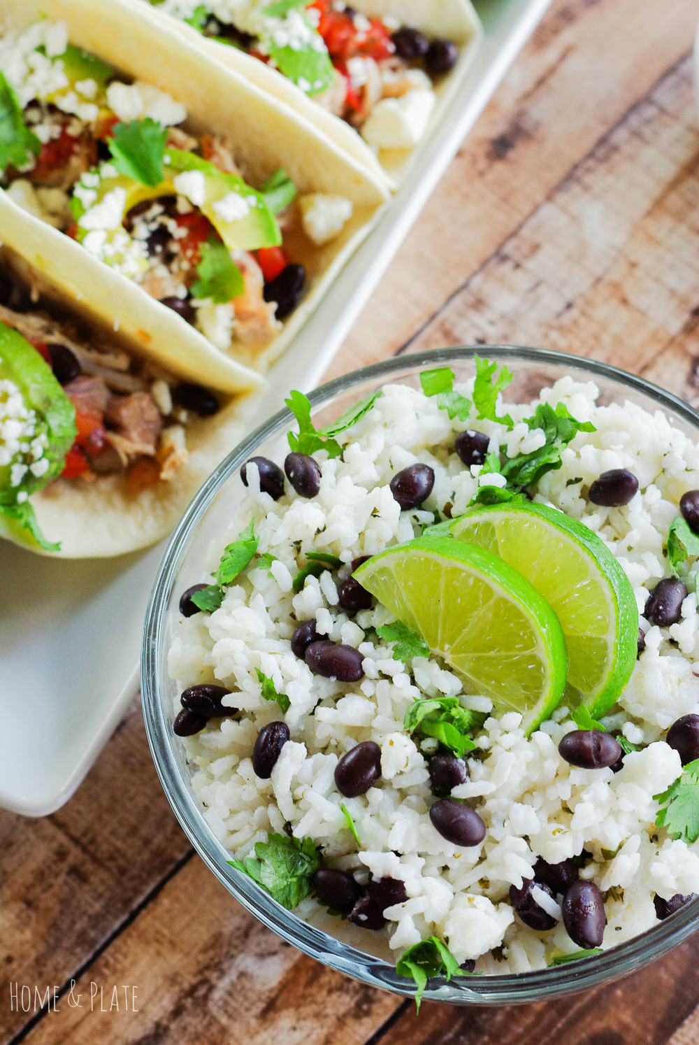 Jasmine Rice with Fresh Lime, Black Beans & Cilantro | www.homeandplate.com | Jazz up plain jasmine rice by adding fresh squeezed lime juice, black beans and chopped cilantro.