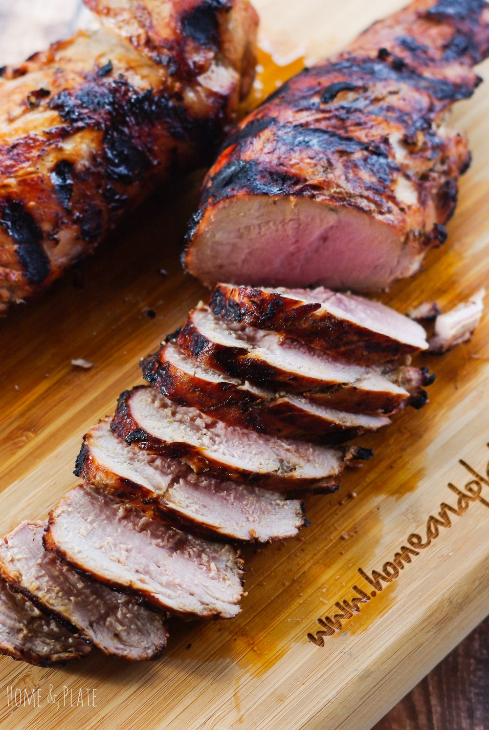 Balsamic and Brown Sugar Pork Tenderloin | Home & Plate | www.homeandplate.com | Grilled slowly this sticky sweet brown sugar balsamic pork tenderloin is sure to please everyone in the family.