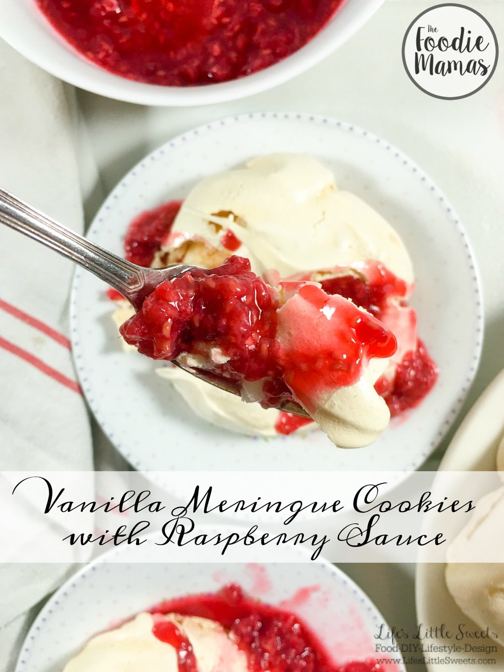 Vanilla Meringue Cookies with Raspberry Sauce