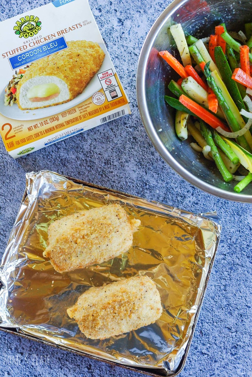 Roasted Provençal Vegetables with Barber Foods Chicken Cordon Bleu | www.homeandplate.com | A breaded chicken breast stuffed with ham and cheese served alongside roasted Provençal vegetables is an easy dinner that can be served up in under 40 minutes on a busy weeknight. #ad