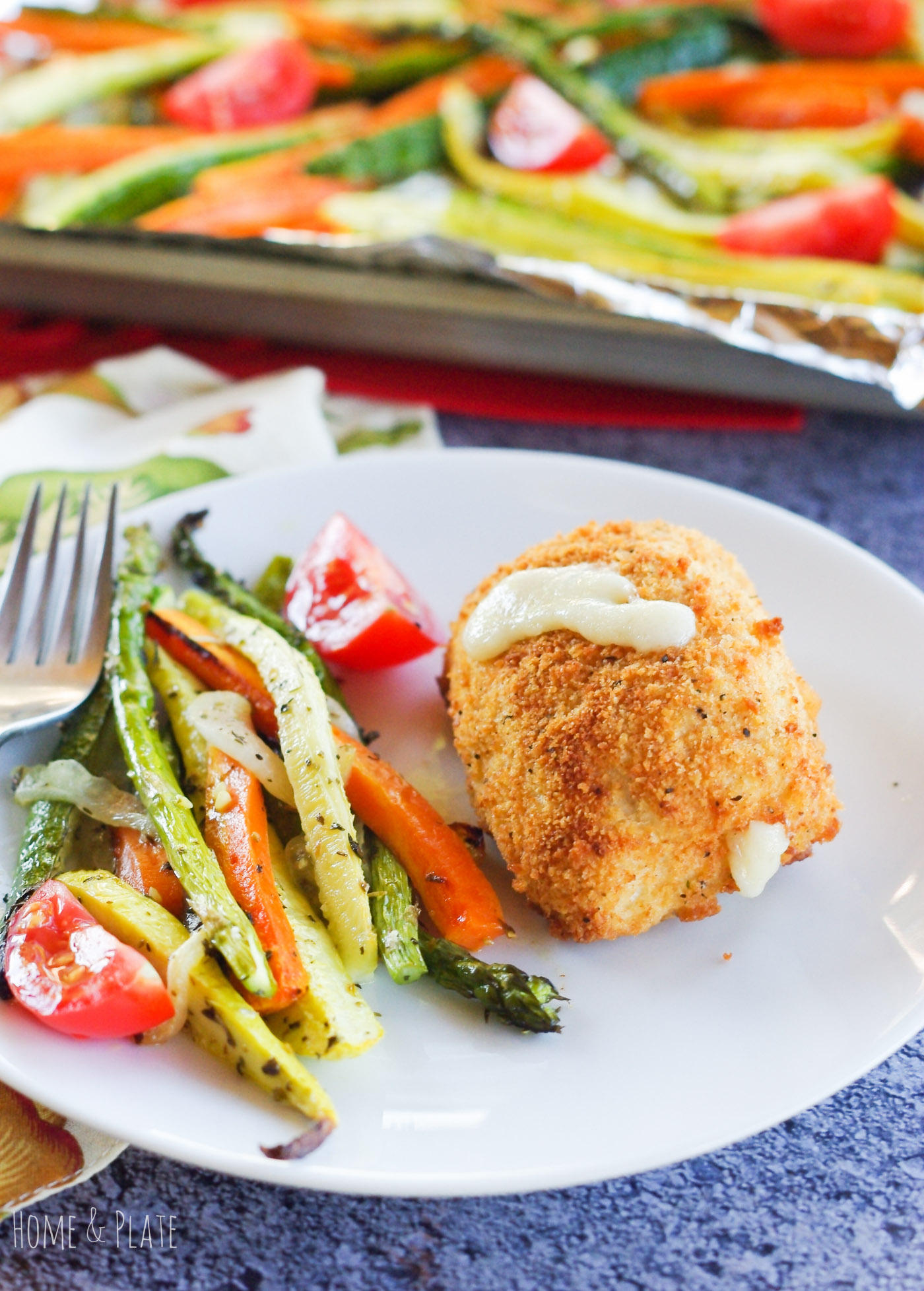 Roasted Proven?al Vegetables with Barber Foods Chicken Cordon Bleu