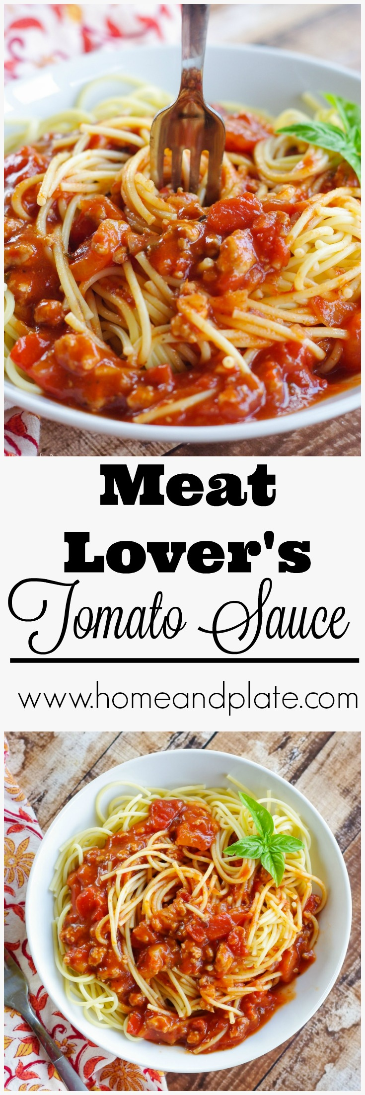 Meat Lover's Tomato Sauce | www.homeandplate.com | Never buy tomato sauce in a jar again! Tomato sauce made from scratch takes 30 minutes and tastes a million times better than the jarred variety.
