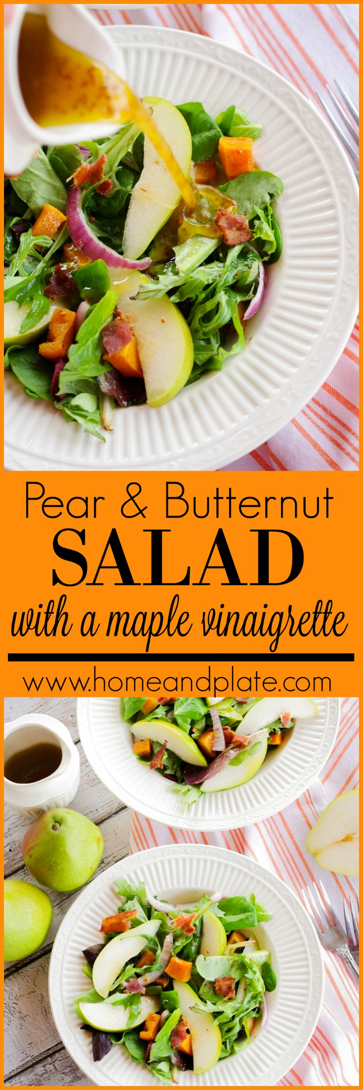 Pear and Butternut Squash Salad with a Maple Balsamic Vinaigrette | www.homeandplate.com |This pear and butternut squash salad is a favorite winter side dish and it's perfect for lunch or any holiday get together.