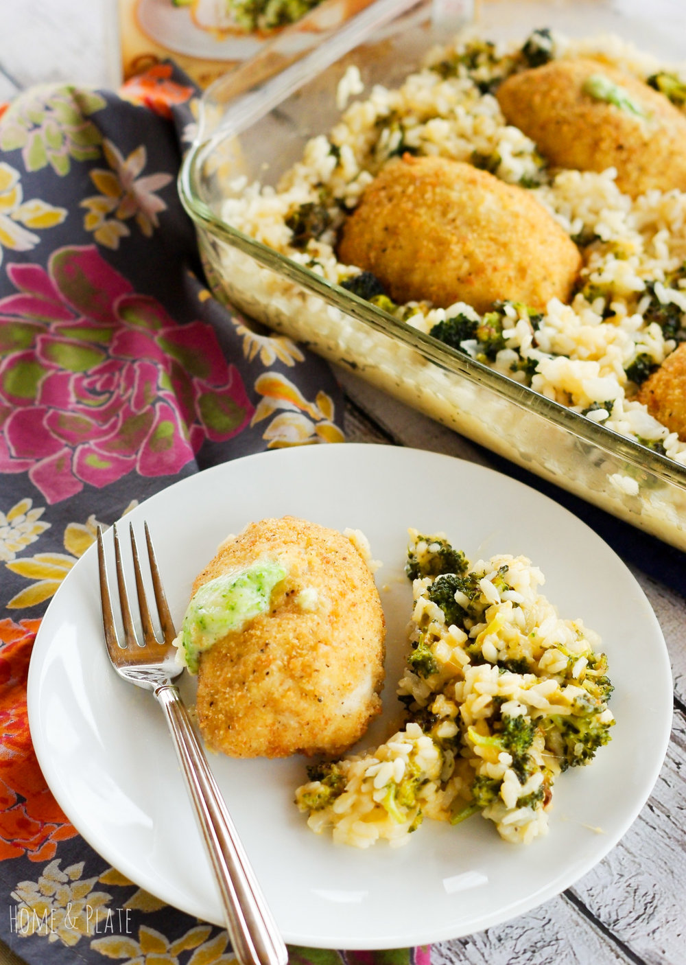 Oven Baked Broccoli & Cheddar Risotto with Barber Foods Stuffed Chicken | www.homeandplate.com | In under 40 minutes, you can serve up this oven baked risotto and serve it alongside a breaded stuffed chicken breast. #BarberNight #ad @BarberFoods