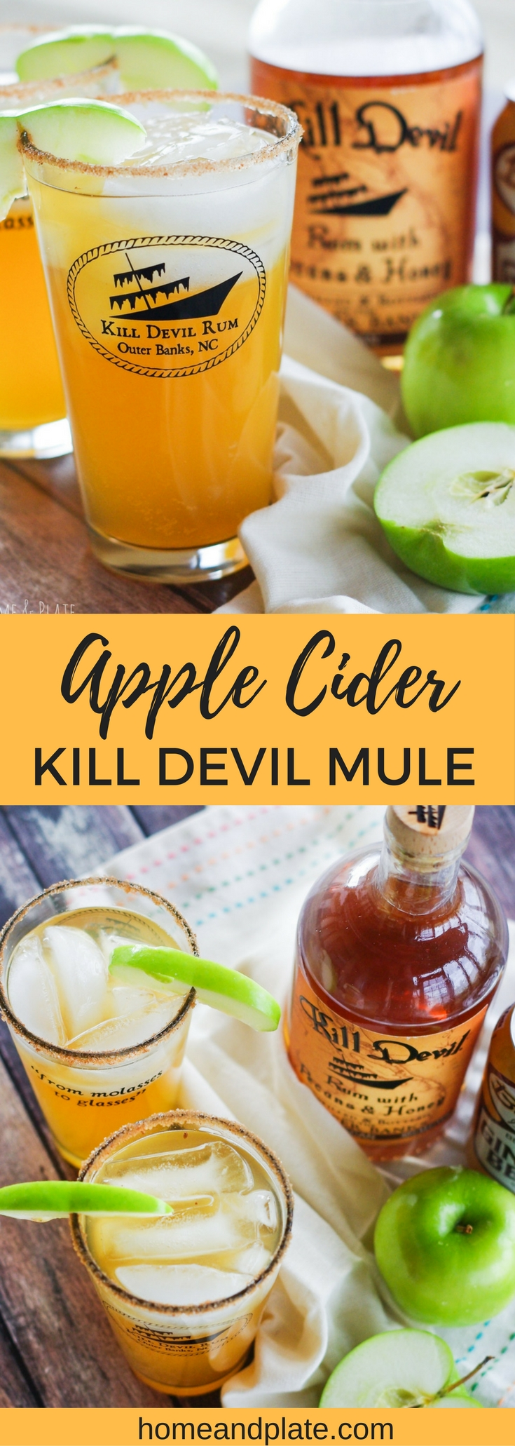 Apple Cider Kill Devil Mule | www.homeandplate.com | A boozy burst of pecan and honey rum blended with ginger beer and sweet apple cider makes a delicious cocktail for any fall or winter day.
