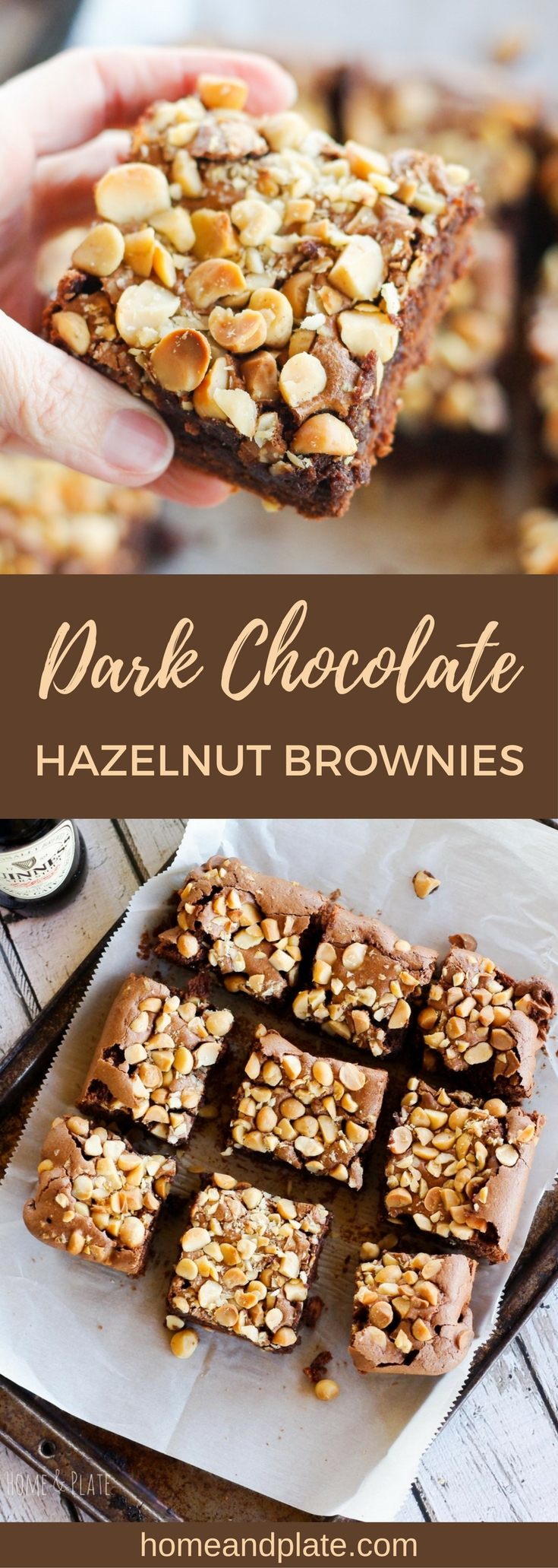 Dark Chocolate Hazelnut Brownies | www.homeandplate.com | These Dark Chocolate Hazelnut Brownies are delicious any day of the year not just St. Patrick's Day. They feature a secret ingredient - Guinness beer!