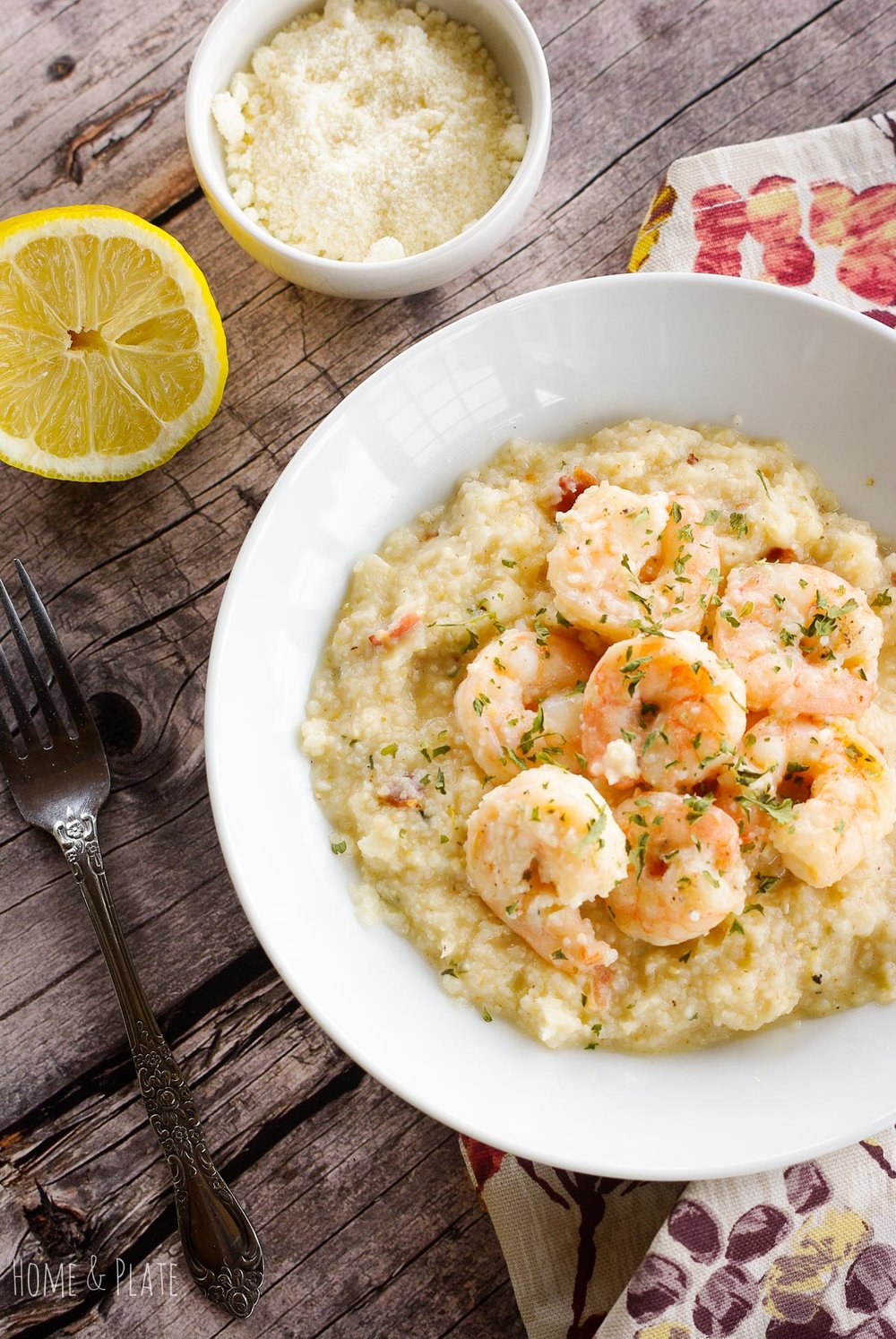 Southern-Inspired Shrimp & Grits | www.homeandplate.com | Get dinner on the table in under 30 minutes with this easy and delicious classic Southern Dish - shrimp and grits.