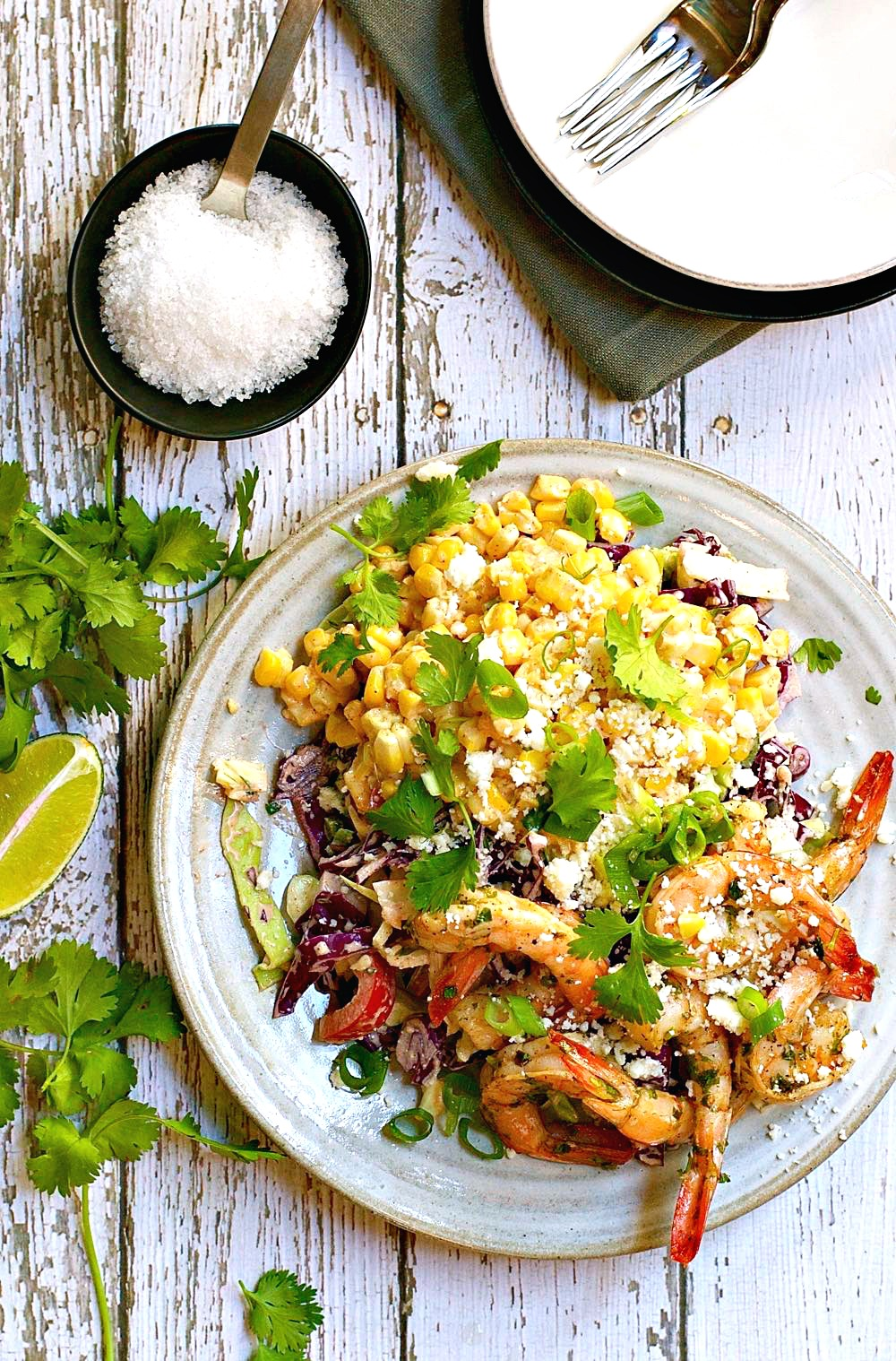 Mexican Street Corn Salad with Spicy Shrimp | Pinch & Swirl