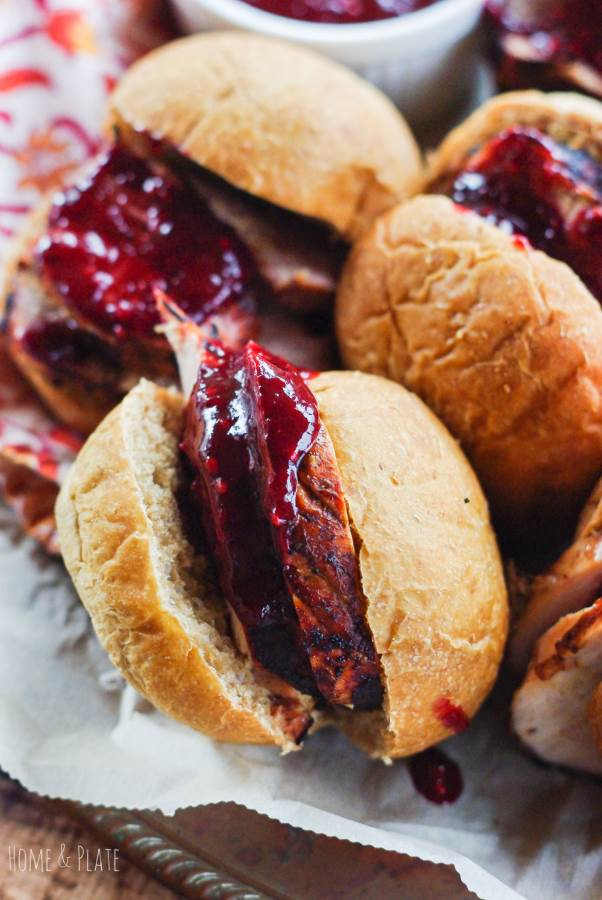 Ohio Pork Tenderloin Sliders with a Blackberry Barbecue Sauce | www.homeandplate.com | Fresh sweet blackberries give this barbecue sauce punch. It's sweet and delicious drizzled on top of grilled pork tenderloin sliders.#AD #OHPork