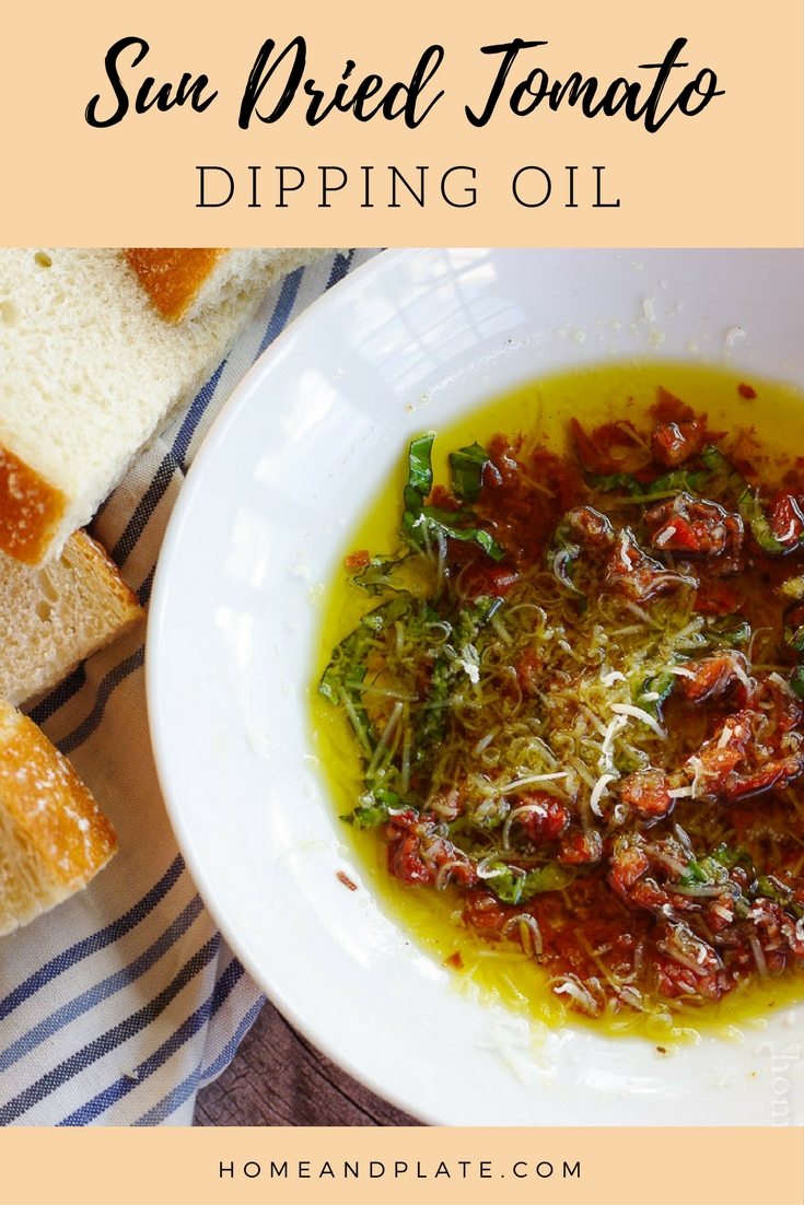 #ad | Sun Dried Tomato Dipping Oil | www.homeandplate.com | Dip your crusty bakery bread loaf in true Italian flavor with this easy to make sun-dried tomato dipping oil.