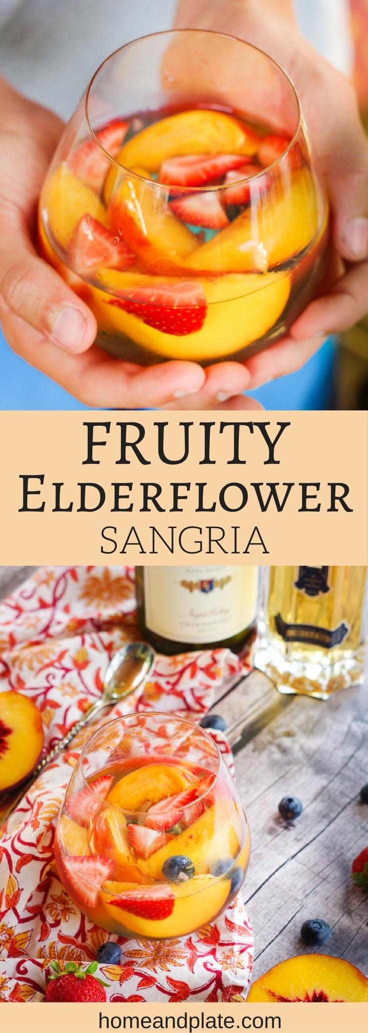 Fruity Elderflower Sangria | Summer's freshest fruits and elderflower liqueur are the stars of this fruity summer sangria spritzer. | www.homeandplate.com