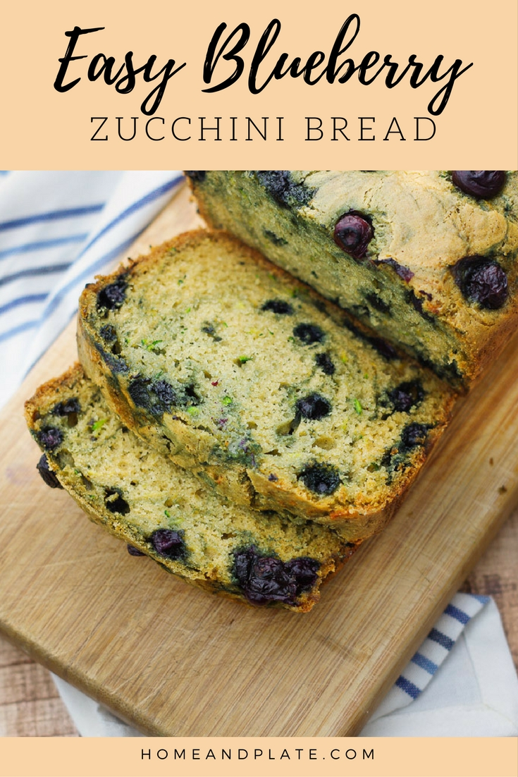 Easy Blueberry Zucchini Bread| It's a classic zucchini quick bread with a twist. This loaf is bursting with the sweet taste of blueberries. | www.homeandplate.com