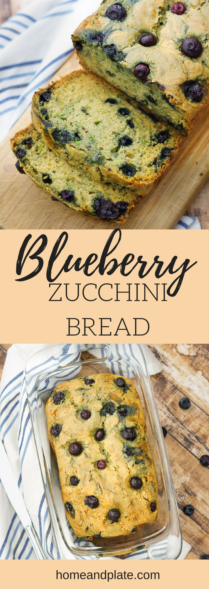 Easy Blueberry Zucchini Bread| It's a classic zucchini quick bread with a twist. This loaf is bursting with the sweet taste of blueberries. Enjoy it for breakfast or an after school snack.  | www.homeandplate.com
