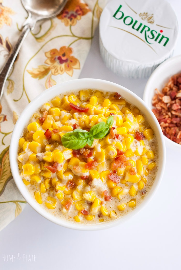 Boursin Creamed Corn | www.homeandplate.com | Fresh sweet corn kernels mixed with salty pancetta and dunked in a creamy Boursin cheese sauce.