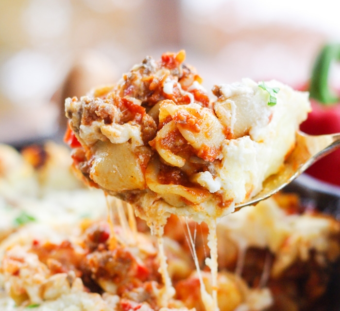 Baked Skillet Pasta with an Easy Sausage Ragu - Home & Plate