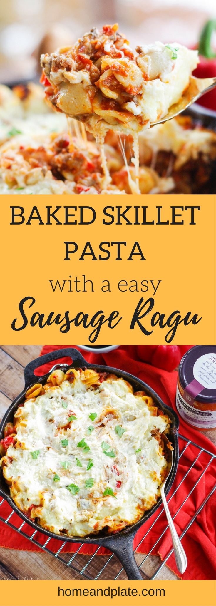 #ad | Baked Skillet Pasta with an Easy Sausage Ragu | This easy baked skillet pasta recipe features the flavors of pork sausage and fennel in a red wine ragu. It's cheesy, meaty and delicious and can be on your table in under an hour. | www.homeandplate.com
