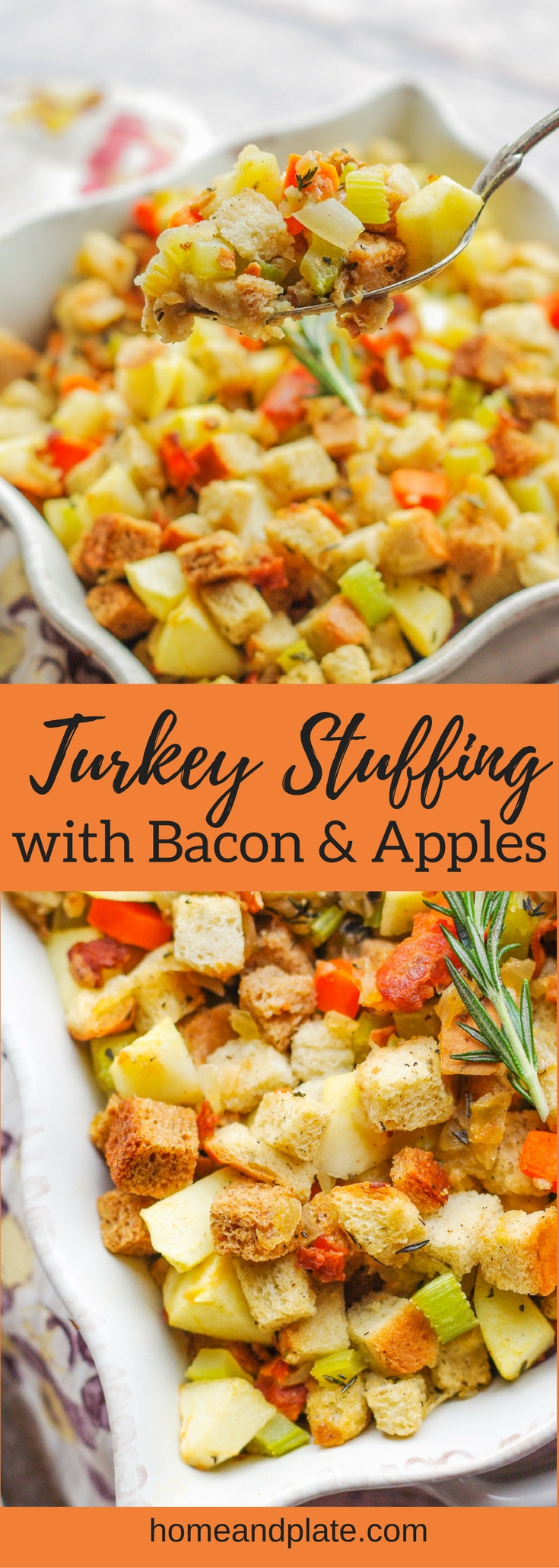 Turkey Stuffing with Apples and Bacon | www.homeandplate.com | Homemade turkey stuffing with sweet apples and salty bacon is a classic side dish that belongs on any holiday table.  #thanksgiving #stuffing #dressing
