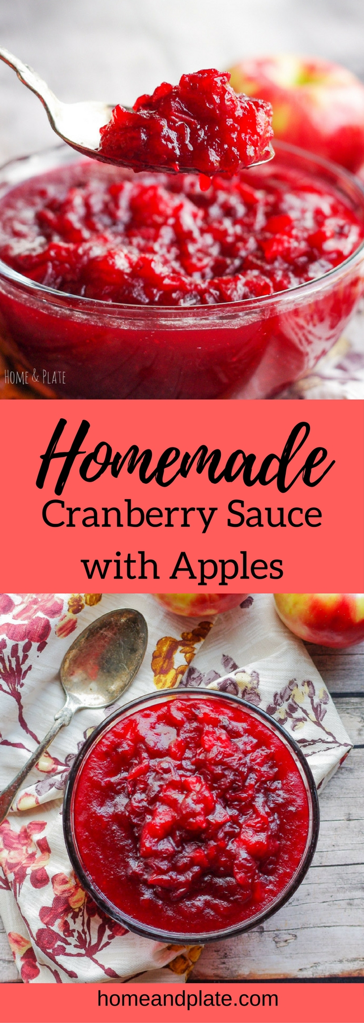 Homemade Cranberry Sauce with Apples | www.homeandplate.com | This homemade cranberry sauce is easy to make and features the tart taste of cranberries mixed with the sweetness of Honeycrisp apples. #thanksgivingrecipe #christmasrecipe #cranberrysauce