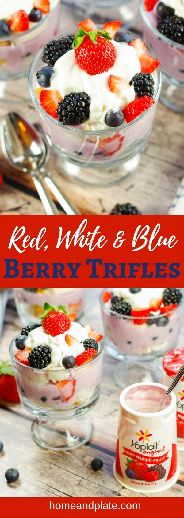 #ad | Red, White & Blue Trifle | This easy no-bake layered trifle is made with mixed berry yogurt, fresh fruit and angel food cake. Enjoy a dessert that is creamy, light and sweet any time of year. | www.homeandplate.com | @yoplait