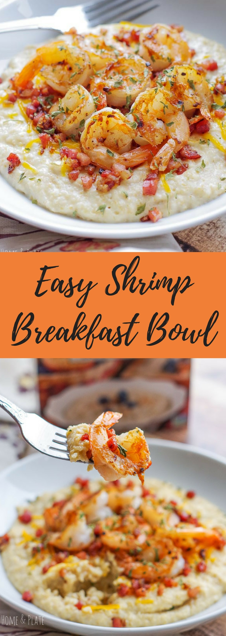 "#ad | Shrimp Breakfast Bowl | www.homeandplate.com | Serve up my version of shrimp and ""grits"" to start the morning with this easy and savory breakfast bowl. #oatbran #breakfastbowl #shrimpandgrits #betterbowl18 @hodgsonmill"