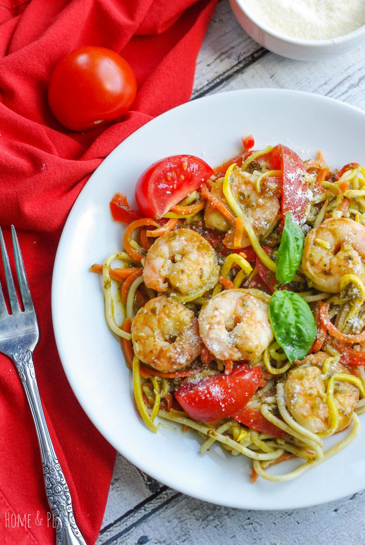 Basil Pesto Vegetable Pasta with Shrimp