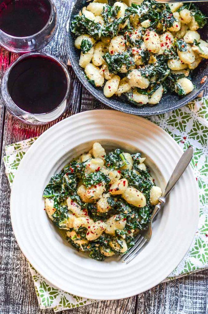 Creamy Vegan Gnocchi with Garlic & Kale