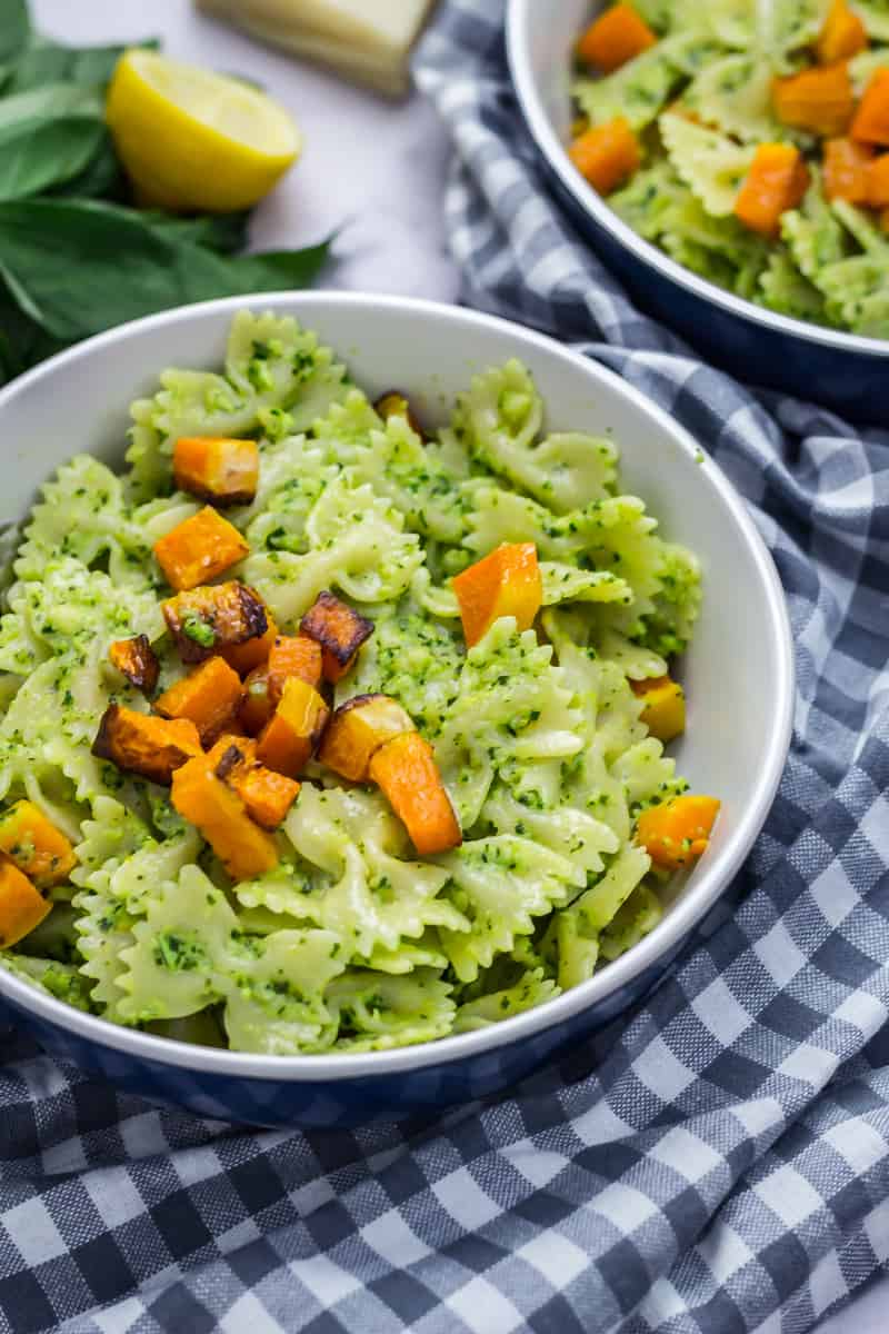 Kale Pesto Bowties with Roasted Butternut Squash