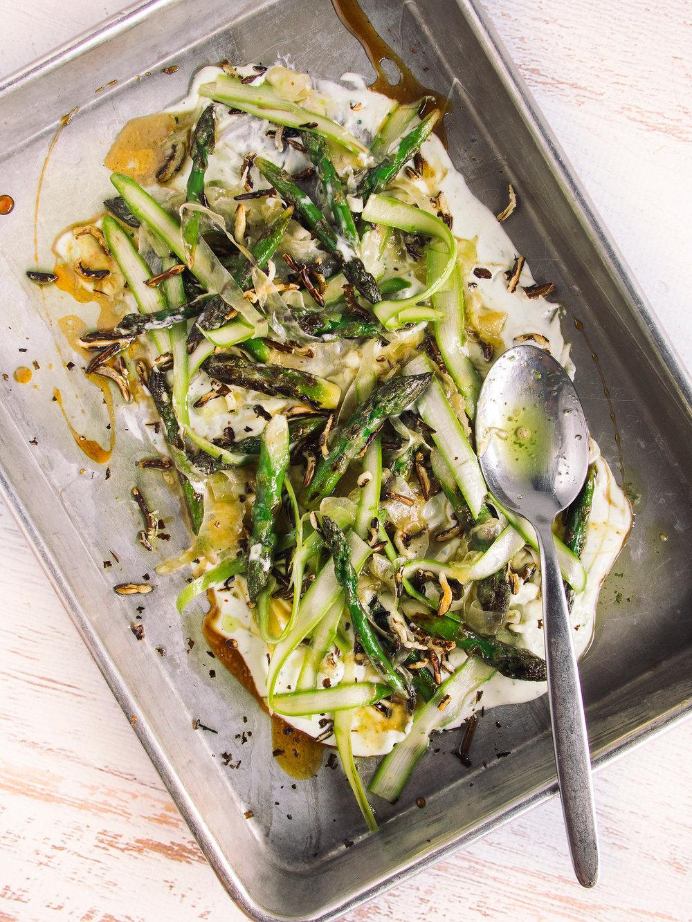 Oven Roasted Asparagus, Whipped Ricotta, Honey
