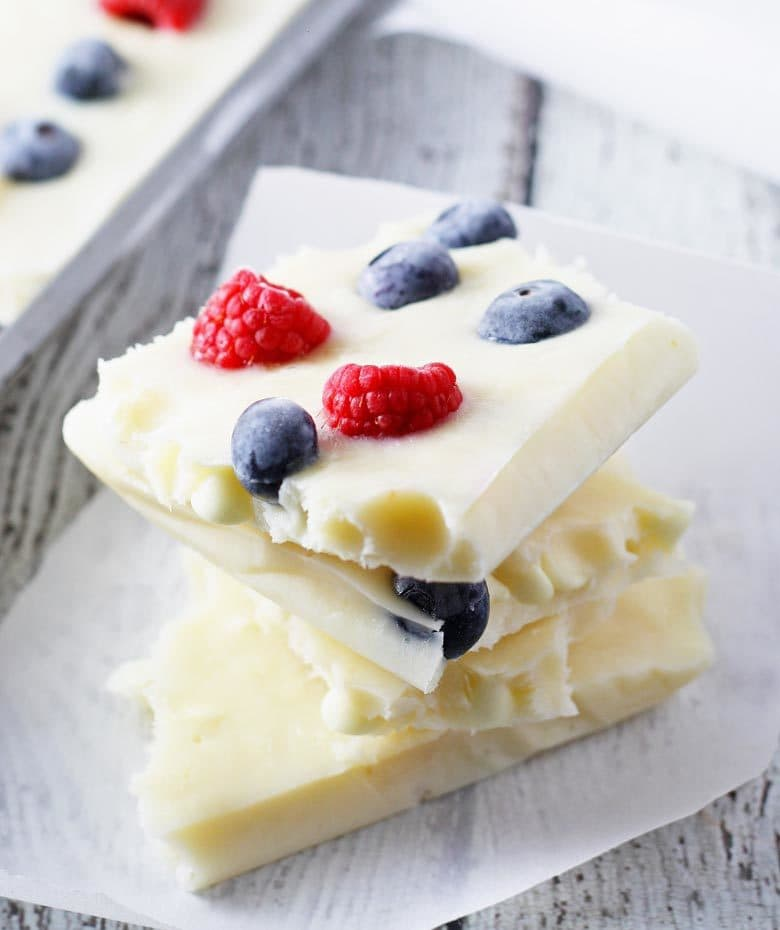 Red, White & Blue Frozen Yogurt Bark