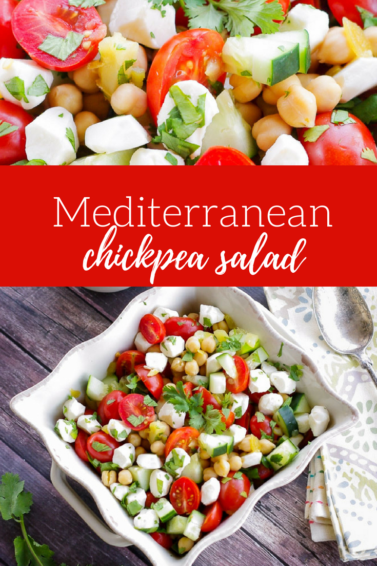 Mediterranean Chickpea Salad | www.homeandplate.com | Bring home the flavors of the Middle East in this easy and healthy chickpea salad. #chickpeas #salad #mediterranean