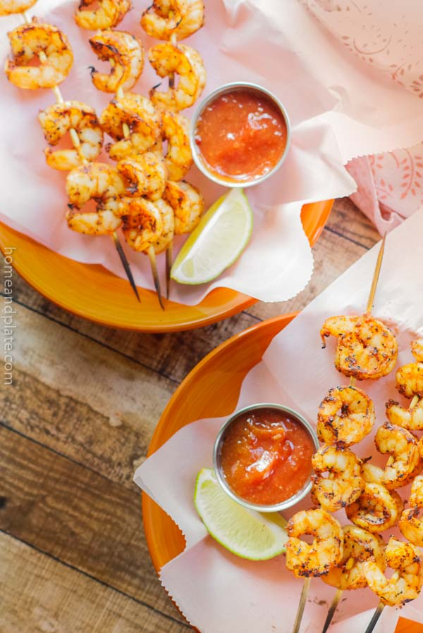 Spicy Grilled Shrimp Skewers | Grilled spicy shrimp skewers on the barbecue are the perfect midweek meal when you're looking for easy,healthy and light.