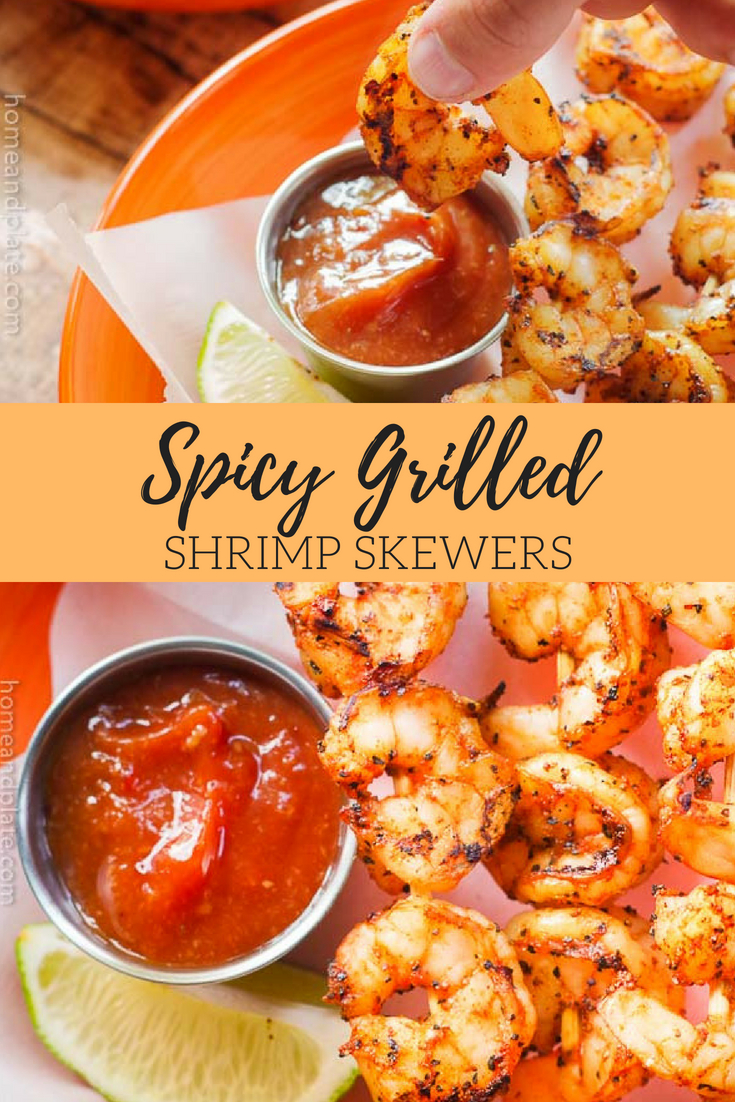 Spicy Grilled Shrimp Skewers | Grilled spicy shrimp skewers on the barbecue are the perfect midweek meal when you're looking for easy,healthy and light. #barbecuedshrimp #shrimpskewers #shrimpkababs #homeandplate