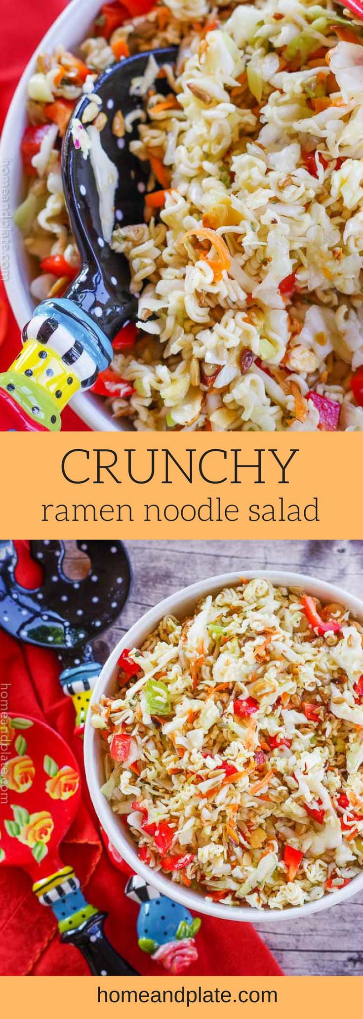 Crunchy Ramen Noodle Salad | www.homeandplate.com | This crunchy Ramen noodle salad is the perfect side dish for any barbecue or summer dinner. #ramennoodlesalad #orientalcoleslaw #coleslaw #chinesecoleslaw