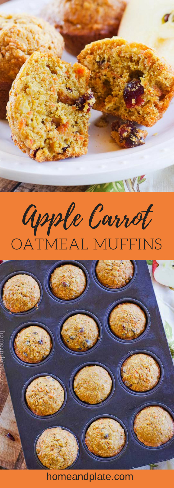 Apple Carrot Oatmeal Muffins   Soft and full of flavor, these apple carrot oatmeal muffins {a.k.a. morning glory muffins} feature whole wheat goodness to start your day. #muffins #morningglorymuffins #applecarrotoatmealmuffins #healthymuffins #homeandplate