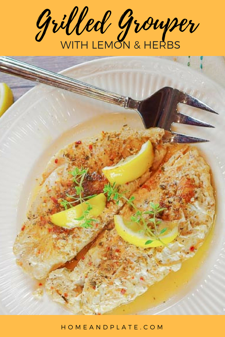 Grilled Grouper with Lemon & Herbs | Home & Plate | www.homeandplate.com | This flaky grouper recipe with lemon and herbs is intended for the grill.