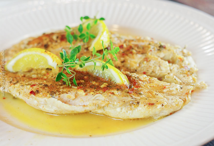 Grilled Grouper with Lemon & Herbs | www.homeandplate.com | This flaky grouper recipe with lemon and herbs is intended for the grill.