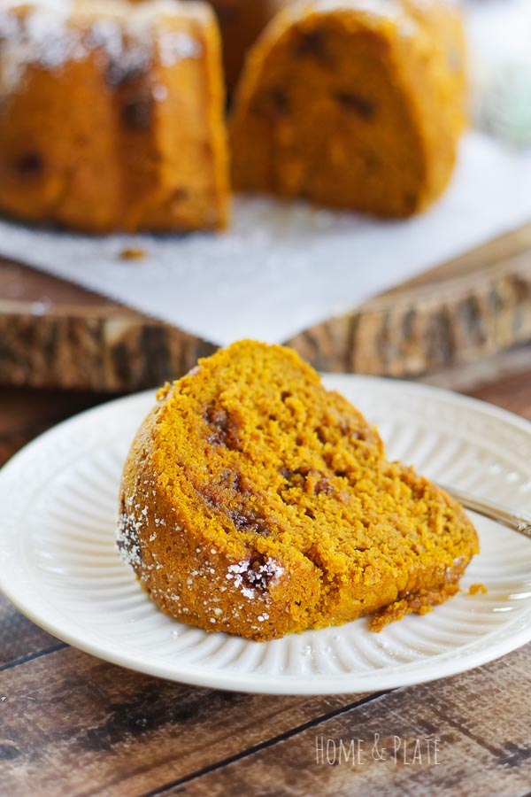 Pumpkin Chocolate Chip Bundt Cake | Pumpkin and chocolate come together in this moist and delicious fall dessert. Perfect for any party or holiday table!