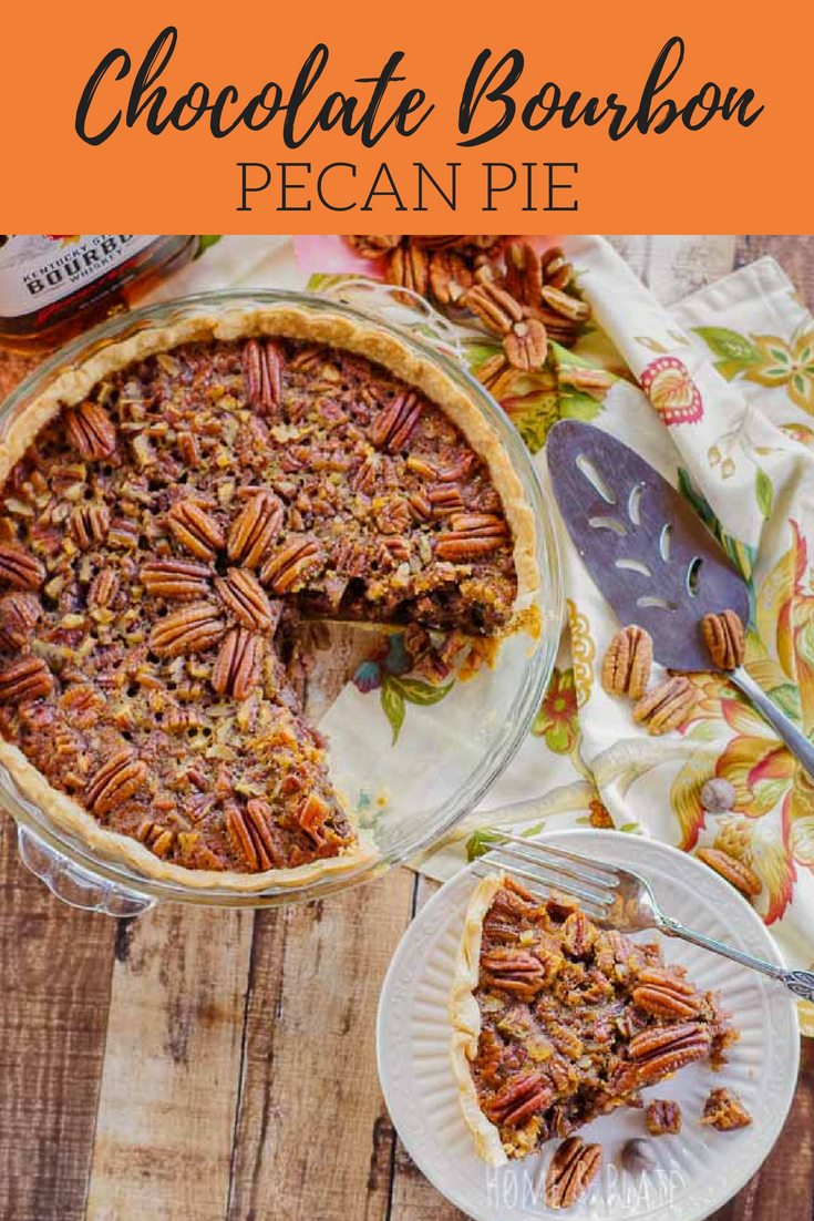 Chocolate Bourbon Pecan Pie | Traditional pecan pie is kicked up a notch with a punch of bourbon and the sweetness of dark chocolate. Serve this dessert for Thanksgiving and Kentucky Derby Day! #pecanpie #chocolatebourbonpecanpie #Thanksgivingpie