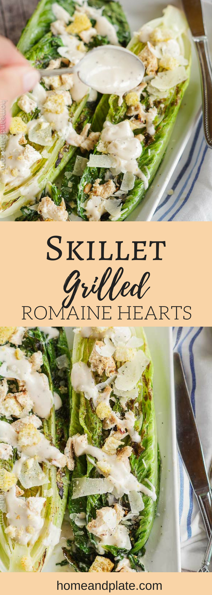 Skillet Grilled Romaine Hearts with Homemade Caesar Dressing | Grilled romaine hearts take on a smokey flavor and are delicious with a drizzle of my homemade Caesar dressing. Grilled outdoors or inside using a skillet grill, you can enjoy this summer classic all year round. #caesarsalad #grilledlettuces #grilledromaine