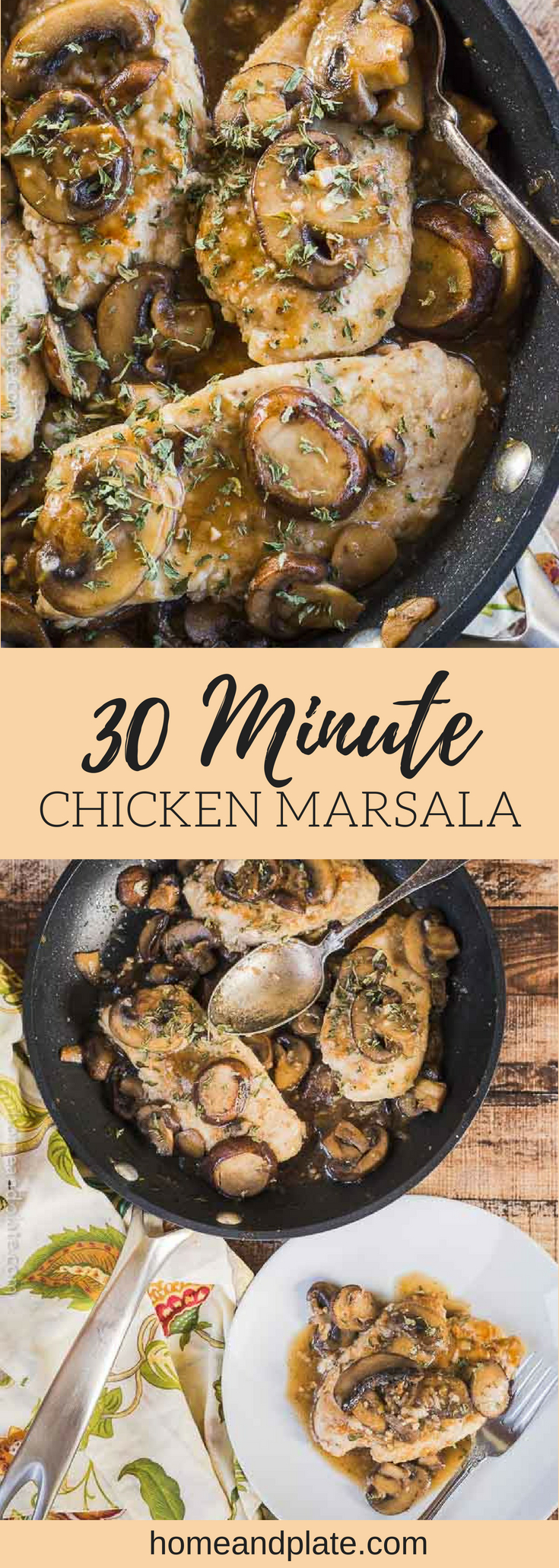 Easy 30 Minute Chicken Marsala | This easy chicken marsala is my go-to dish for a midweek meal and it can be whipped up in under 30 minutes. #chickenmarsala #skilletchicken #chickenwithmushrooms