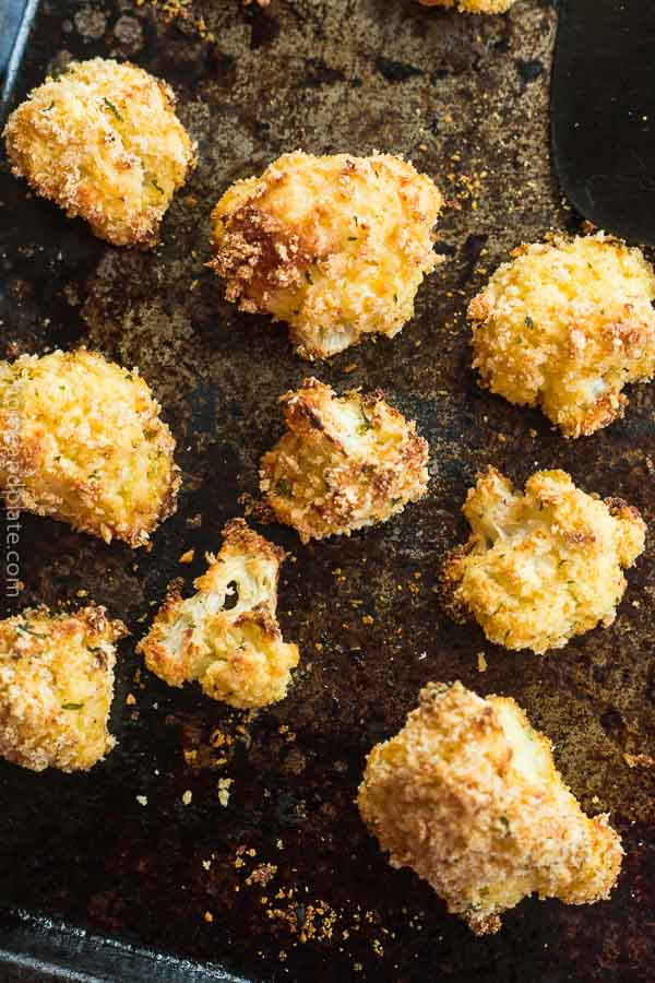 Roasted Cauliflower with Panko and Parmesan on a baking sheet.