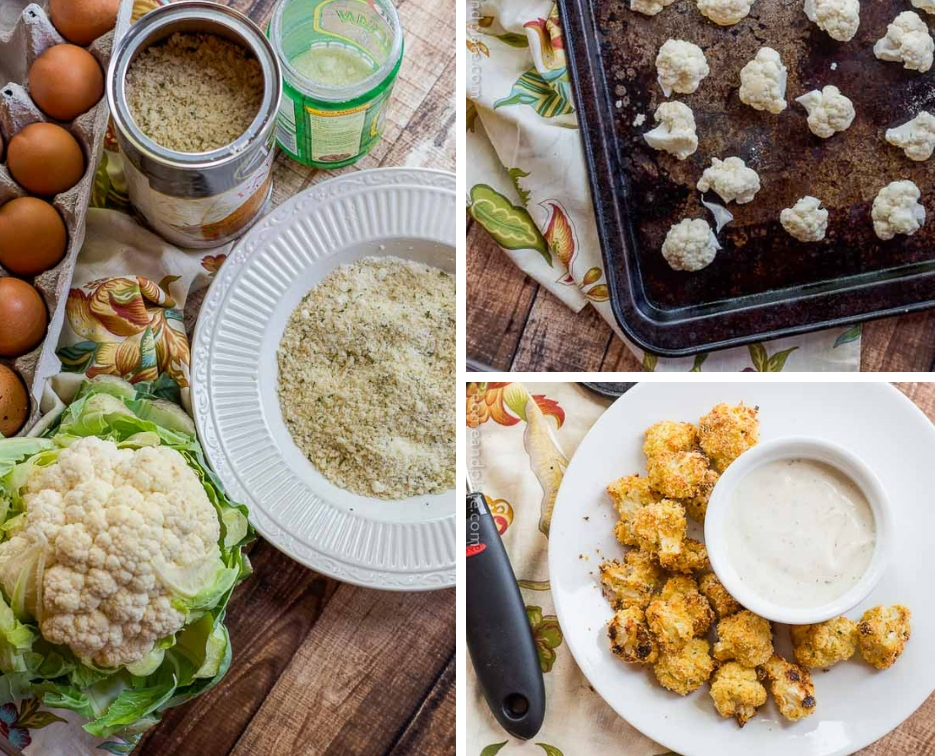 Photo collage: Left - A head of cauliflower, a carton of eggs and a bowl of Panko breadcrumbs and Parmesan cheese are the ingredients you'll need for this recipe. Top right - a baking sheet with uncooked cauliflower. Bottom right - a plate of roasted cauliflower florets with a side of ranch dressing.