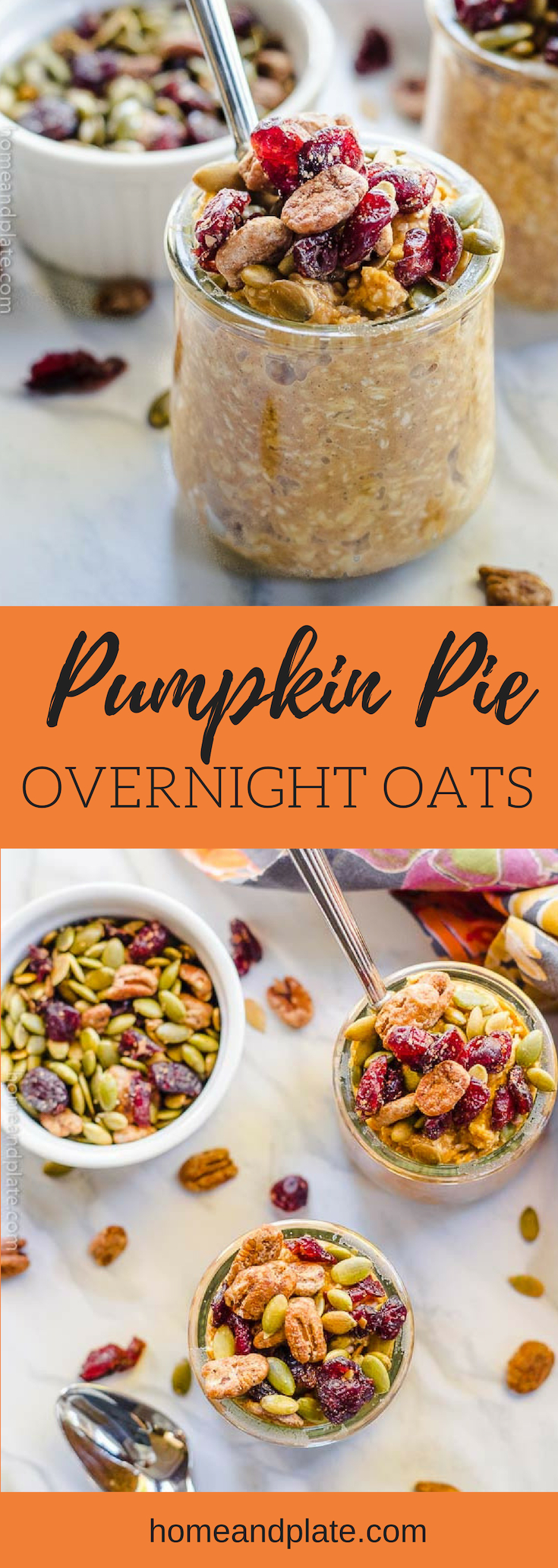 Pumpkin Pie Overnight Oats | Start your fall mornings with the taste of pumpkin pie with this easy make-ahead breakfast of overnight oats topped with dried cranberries, pepitas and pecans. #overnightoats #pumpkinovernightoats